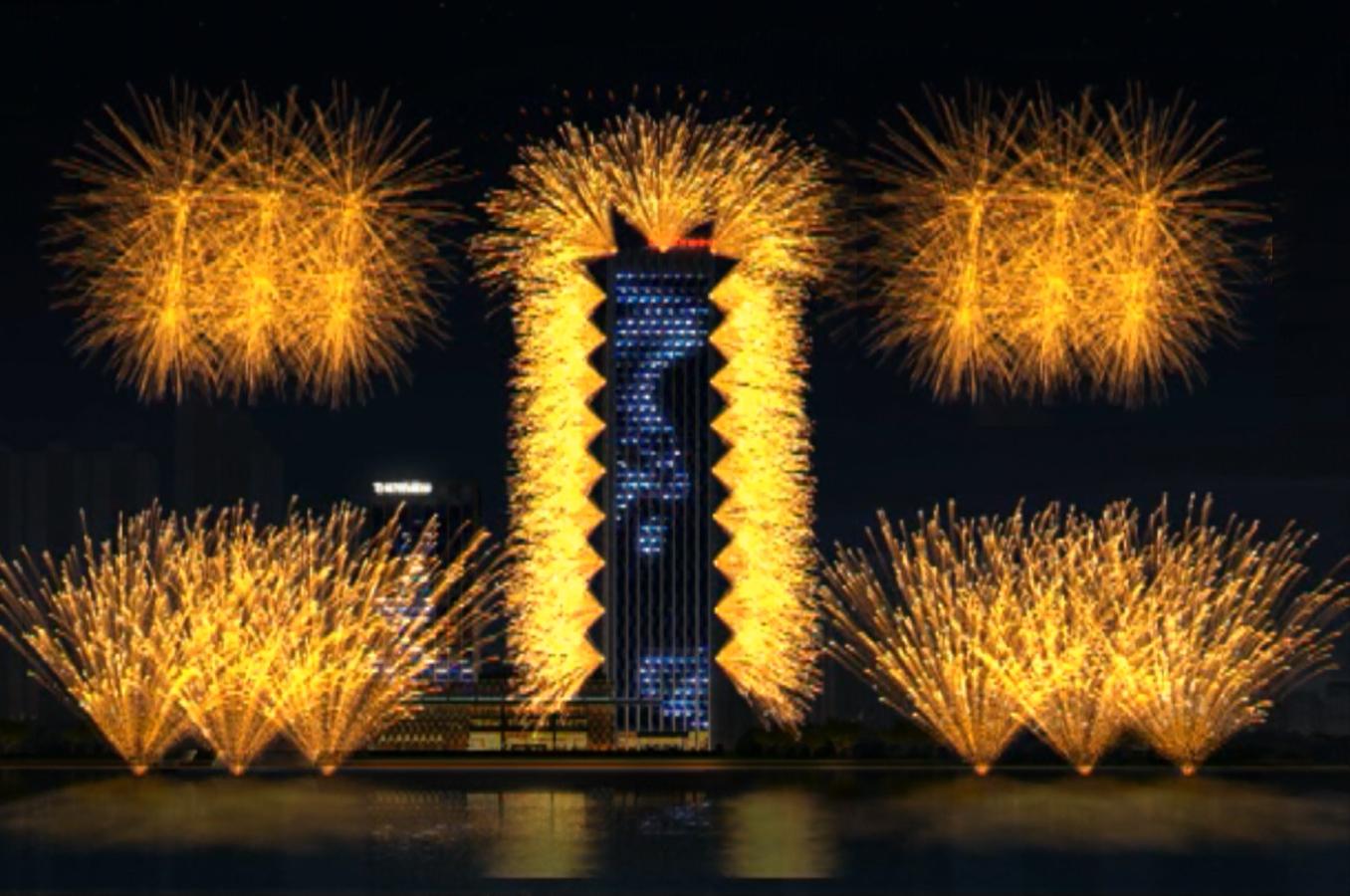 武汉万达灯光烟火秀是每个新年的重要公共活动