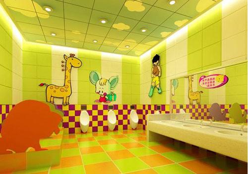 依照人体工学,匠心设计儿童主题卫生间及多功能母婴室,同时以小男孩和图片