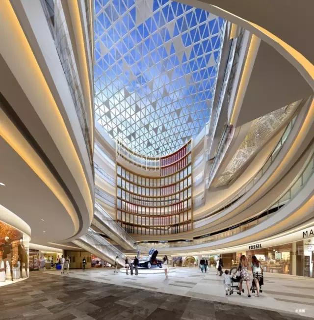 """近期,小编得知青岛城市传媒广场商业公共空间设计方案新鲜出炉!细细了解后,小编相信今后的城市传媒广场一定是炸天又炫酷!   话不多说,接下来就和大家分享这精妙绝伦的设计方案!   设计概念:传媒的进化   整个空间设计方案以""""传媒的进化""""作为创意概念。以时间顺序,从远古的洞穴石壁形态到电子信息时代的图标代码,成为贯穿城市传媒广场-1F至6F的主要设计元素。   从装饰材料的选择到设计色彩的挑选与运用,以及与整个空间采光、照明所形成的明暗关系,到最终室内装饰、绿化物的陈列摆放,每一个细"""